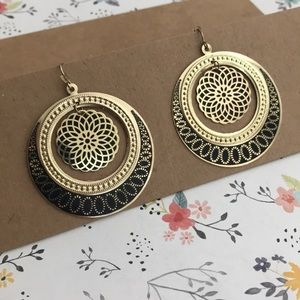 Round Gold and Black Dangling Earrings